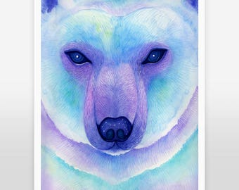 Polar bear print, nursery bear decor, nursery Constellation, Cosmic nursery, animal art print, watercolor print