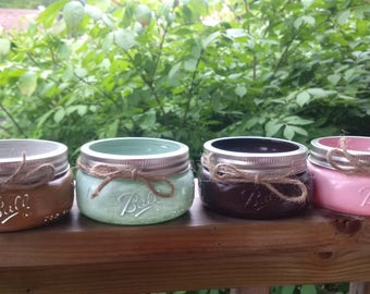 set of 4 small mason jars