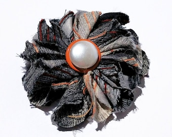 Recycled Vintage Necktie Fabric Flower Clip - Grey and Orange