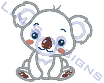 "Cute Koala applique machine embroidery design- 3 sizes 4x4"", 5x7"", 6x10"""