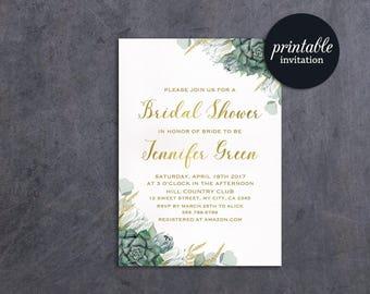 Printable Bridal Shower Invitation Floral Bridal Shower Invitation Green Succulent Bridal Shower Invitation Greenery Bridal Shower invite