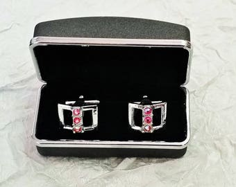 Vintage Mod Cuff Links, Bright Pink AB Stones in Silvertone Metal, Party Glitz, Gift Box
