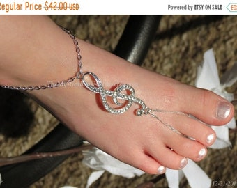 Sale Baby barefoot sandals, FITTED PAIR silver music note jewelry, music anklet ring, barefoot sandal, foot jewelry, silver sandals beach we
