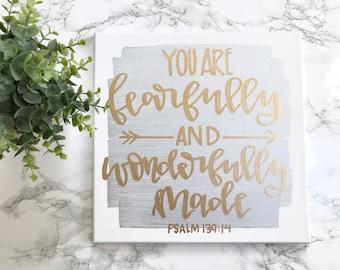 You are fearfully and wonderfully made- 12x12 canvas sign, nursery decor, grey and gold nursery, baby boy nursery, baby girl nursery, arrows