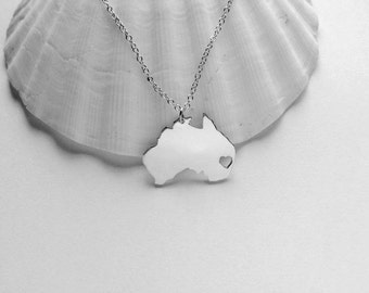 Australia Necklace White Gold,Australia Shaped Jewelry with Heart,Australia City Necklace,Personalized Country Necklace,AU Pendant