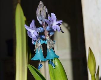 Bluebell flower earrings, blue fairy jewelry, bellflower earrings, elven jewelry, mori girl, bluebell jewelry, forest earrings, boho jewelry