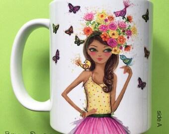 Bibi Birdies, Coffee Mug, Fashion illustration, Bella Pilar, Fashion mug