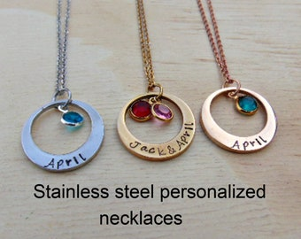 stainless steel round personalized necklace, stainless steel hand stamped birthstone necklace, star necklace, round mommy necklace, custom