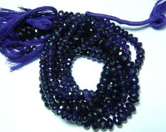 Wholesale African Amethyst Rondelles 7mm-9mm Micro Faceted Rondelles - 10 Inches Each