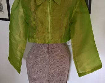 Vintage NU I.D. Clothing Sheer Crop Top Jacket --- 1990's Rave Colorful Unique Futuristic Fashion --- 90's Babe Summer Shirt Beach Cover Up