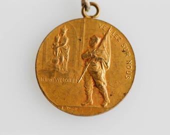medal french art nouveau antique world war one WW1 maritime religion medallion brass tone E DROPSY veillez sur nous militaria 1914-1915 rare