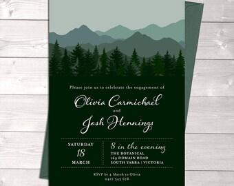 Engagement invitation, wedding invitation, mountain invitation, nature invitation, trees, green, digital customised printable