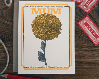 letterpress happy mother's day to an award winning mum card vintage mum seed packet brightens my day always in season