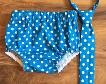 Cravate, couvre-couche ensemble accessoire de photographie saphir bleu à pois, habillé bébé garçon