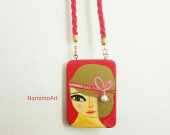 Painted wood necklace , long pendant necklace , wearable art necklace , illustrated jewelry , fashionable