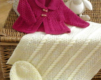 King Cole Knitting Pattern 4222~Jacket, Blanket & Hat~Aran~14-22""