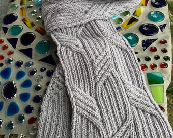 Grey long cable scarf