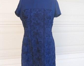vintage navy blue embroidered dress . 1960s Mad Men Dress and Jacket Set