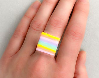 Rainbow ring, polymer clay rainbow ring, ring adjustable, Polymer Clay, rainbow jewellery, ring, pride jewellery, rainbow, gay pride