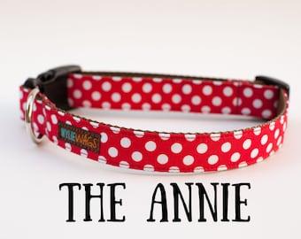 Handmade Red Polka Dot Dog Collar, dog collar for girls, dog collar for boys, dog collar