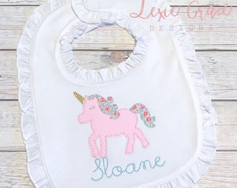 White Ruffled Bib with floral unicorn, applique, embroidered, baby girl