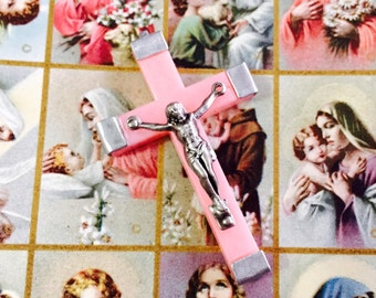 RETRO PINK CRUCIFIX Vintage French Rosary Part