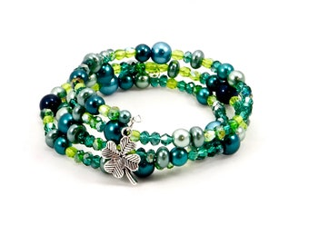 Luck of the Irish Memory Wire Beaded Bracelet, Costume Jewelry, Cuff Jewelry, Handmade, Women's Accessories, Fashion Jewelry, One of A Kind