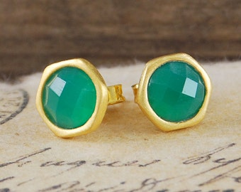 Studs, Gold Studs, Gemstone Studs, Gold Gemstone Studs, Natural Stone Studs, Small Studs, Round Studs, Green Gemstones, Green Stone Studs