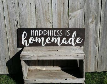 Happiness Is Homemade Sign, Rustic Sign, Rustic Wall Art, Farmhouse Kitchen Sign