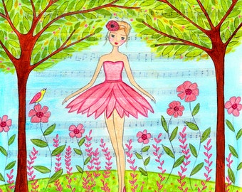Ballet Art - Ballerina Art Print - Girls Room Decor - Children Decor - Ballerina Art