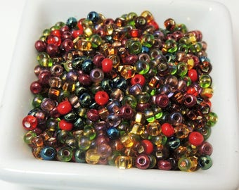Fall Fling NEW Mix Size 6 Seed Beads 50 grams gold red copper green