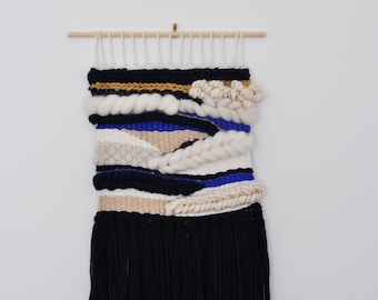 Handwoven Wall Hanging Art Weaving - navy, cream, white, royal blue and mustard FREE SHIPPING