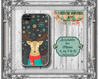 Winter Deer iPhone Case, Christmas iPhone Case, Reindeer Case, iPhone 4, 4s, iPhone 5, 5s, 5c, iPhone 6, 6s, 6 Plus, SE, iPhone 7, 7 Plus