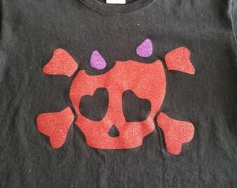 Red Glitter Skull with Cross Bones