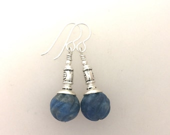 Earrings Blue Sodalite Stone Melon Cut with Sterling Silver French Hooks #B