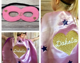 Custom Superhero Kids's Cape w/ mask, Personalized Kids Superhero Cape, Kid's cape, Girl's Superhero Cape, Superhero costume, Girl's Cape