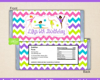 Gymnastics Chocolate Bar Wrappers -  Gymnastics Candy Bar Wrappers - Gymnastics Party Favors - Gymnastics Candy Labels - Digital & Printed
