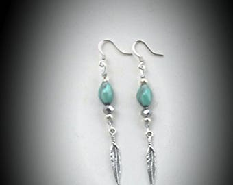 I am a Feather ~ Indian Agate Feather Charmed SoulSpeaker Earrings