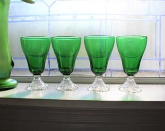 "4 Vintage Green Burple Goblets 6"" Anchor Hocking Glass 1950s"