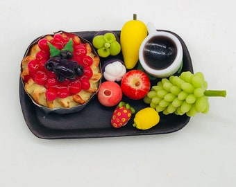 Miniature Fruit Pie with Hot Coffee and decorate many fruit,Miniature Sweet dessert