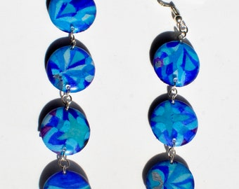 Bohemian earrings Indian inspiration silver and resin