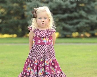 Lorelai's Tiered Ruffle Neck Dress PDF Pattern sizes 6-12 months to 8