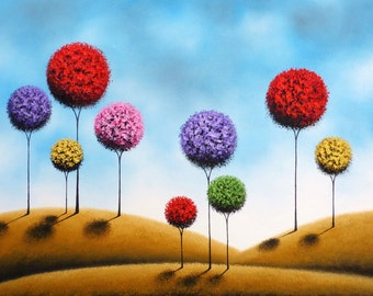 Large Wall Art Print, Colorful Tree Landscape, Giclee Print, Contemporary Abstract Art, Retro Art, Mid Century Modern Art, Folk Art Trees
