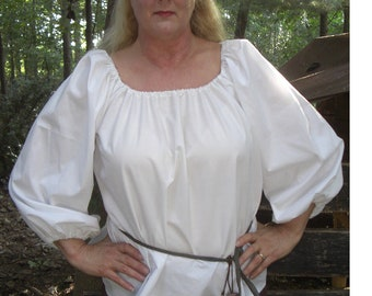Women's Renaissance Peasant Blouse Cosplay LARP White Can Be Custom Made To YOur Size