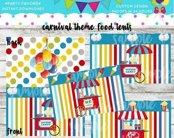 Printable Carousel Birthday Food Tent/Card DIY Digital PDF File