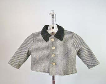 Little Boys Cropped Jacket / Vtg 50s / Gray Tone o Tone Striped Wool Toddlers Jacket