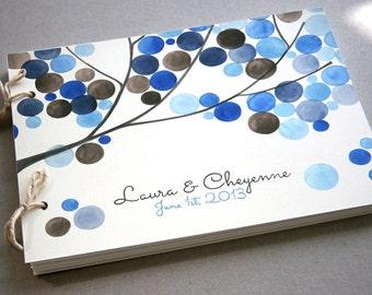 Custom Wedding Guest Book Album Tree Branch - Modern minimalist guestbook album - watercolor painted hardcover guest book ideas