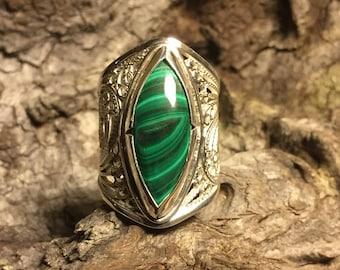 Malachite Silver Filigree Ring