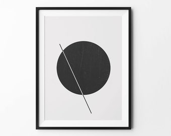 Geometric art, wall art prints, geometric print, black and white, wall decor, graphic, inspirational, Elipse