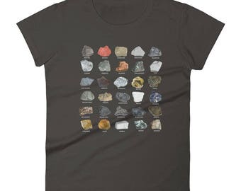 Women's Crystals Ores and Minerals Gems Rock Collecting T Shirt